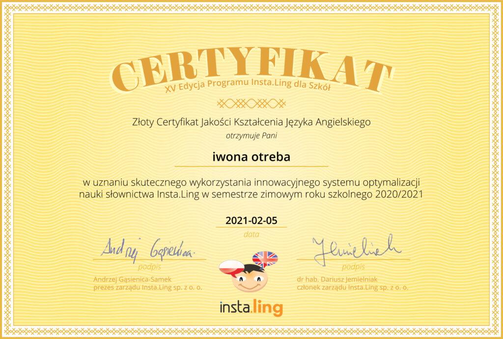 Certyfikat jakości kształcenia