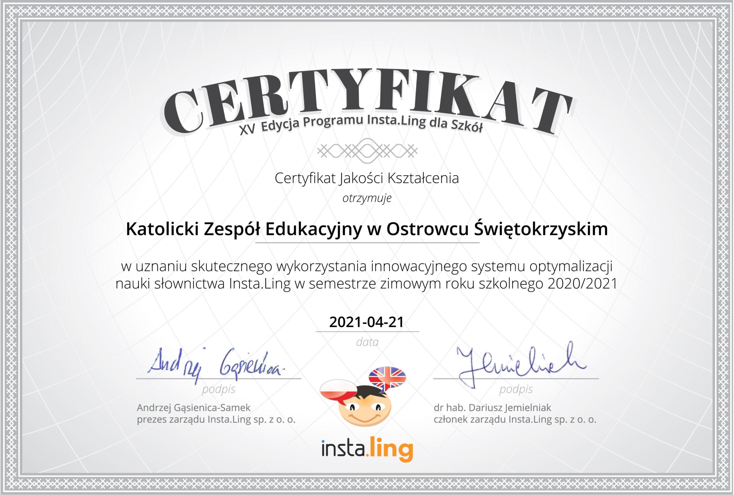 Instaling - certyfikat